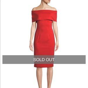 NWT Tahari ASL Red Off the Shoulder Dress